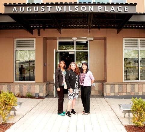 August Wilson's Daughter Sakina Ansari-Wilson (L) and widow Constanza Romero (R) with LIHI Executive Director Sharon Lee (C)